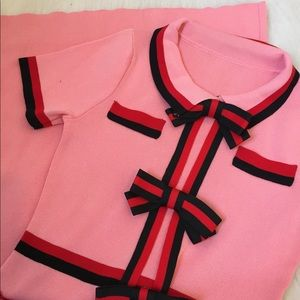 SAMPLE PINK MIDI DRESS WITH ACCENT BOWS